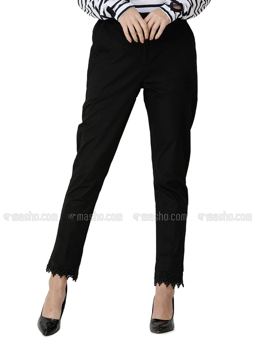 100% Cotton Trouser Extendable Waist And Lace Work In Black