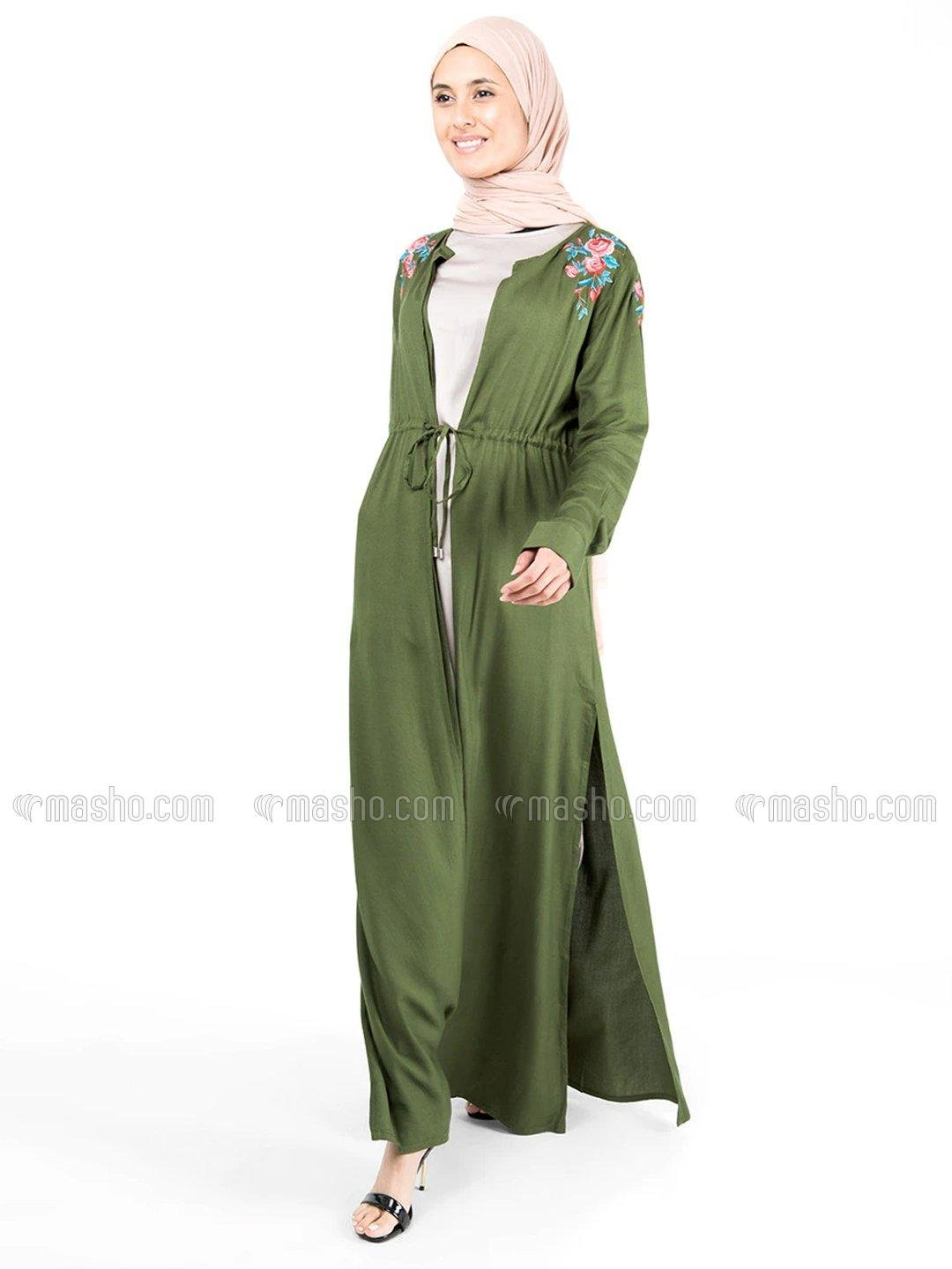 100% Rayon Floral Embroidered Outerwear In Green