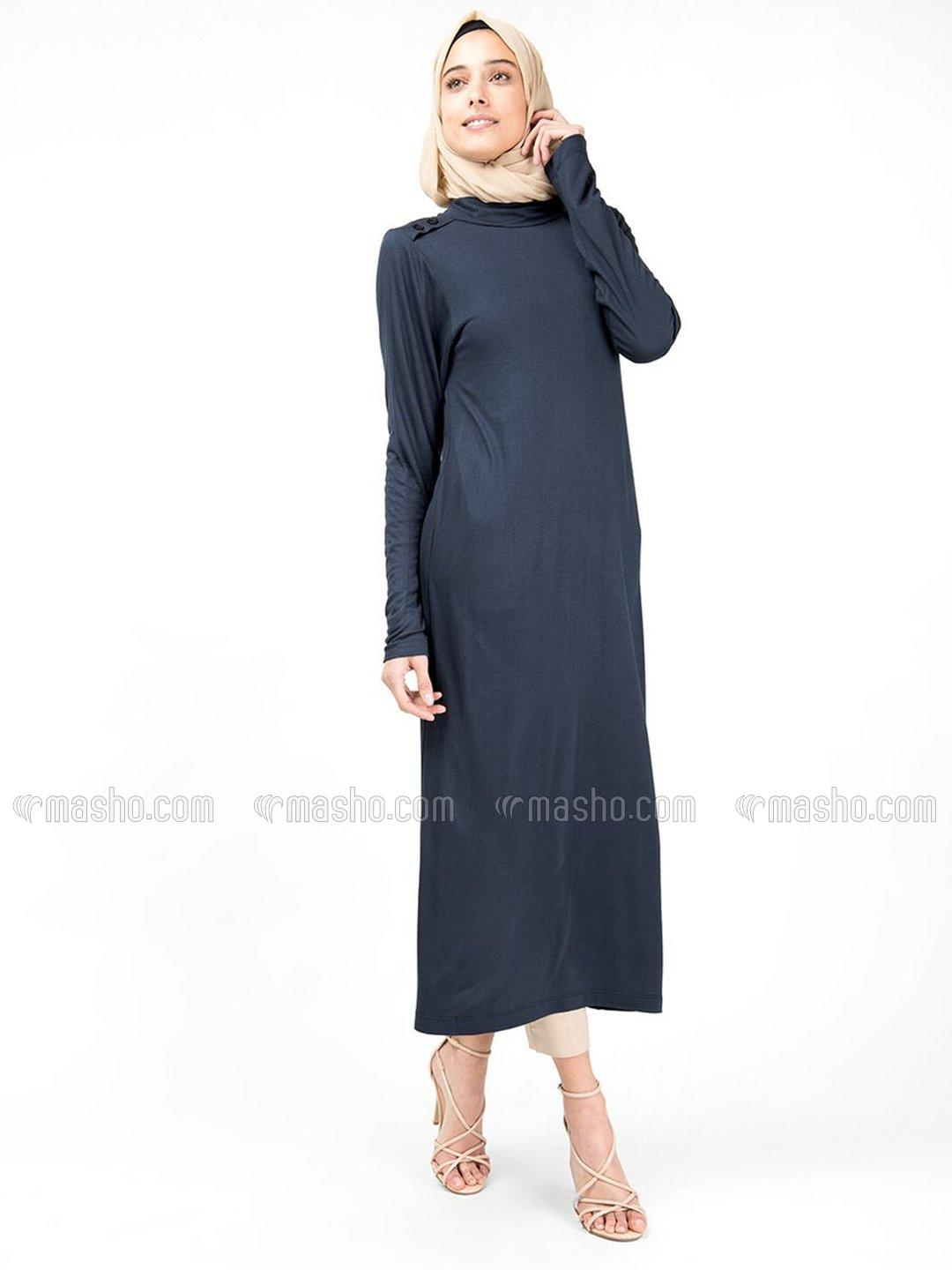100% Viscose High Neck Long Top In Blue