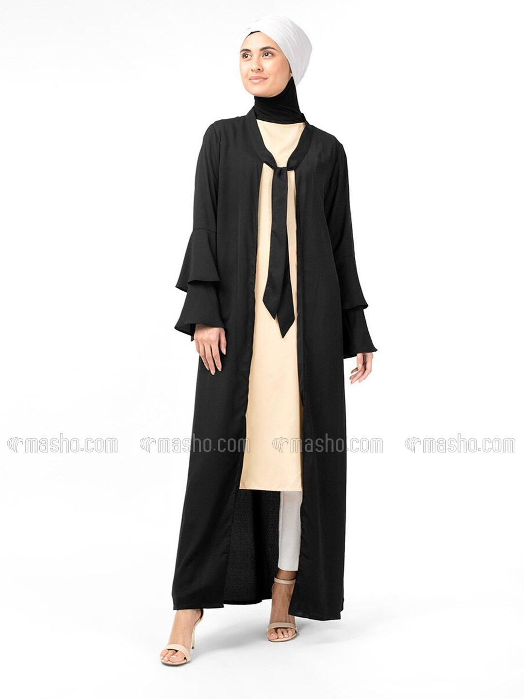 100% Polyester Layered Bell Sleeve Kimono In Black