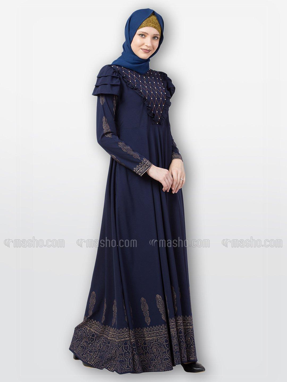 Nida Matte Printed Umbrella Abaya With Handwork On Front In Navy Blue