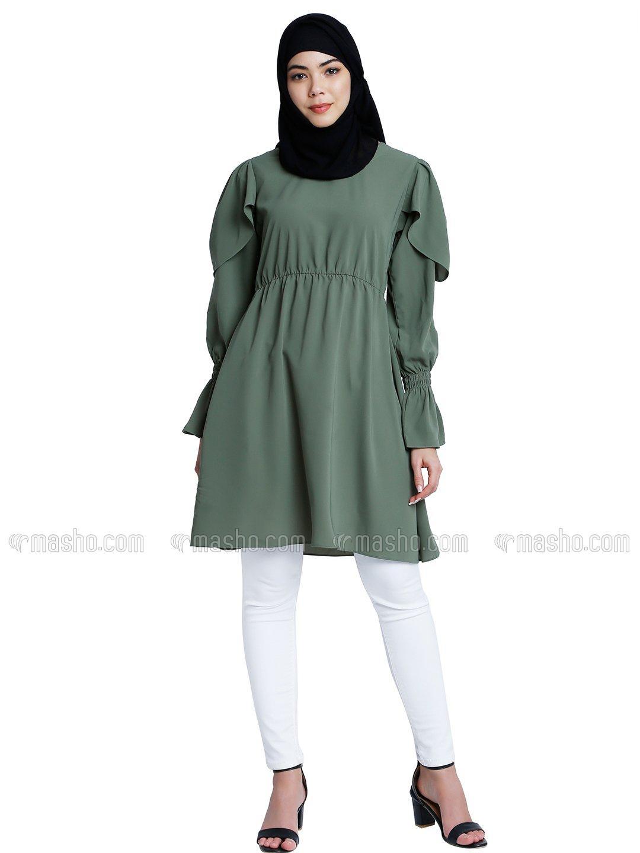 Nida Matte Modest Kurti With Full Sleeves In Jade Green