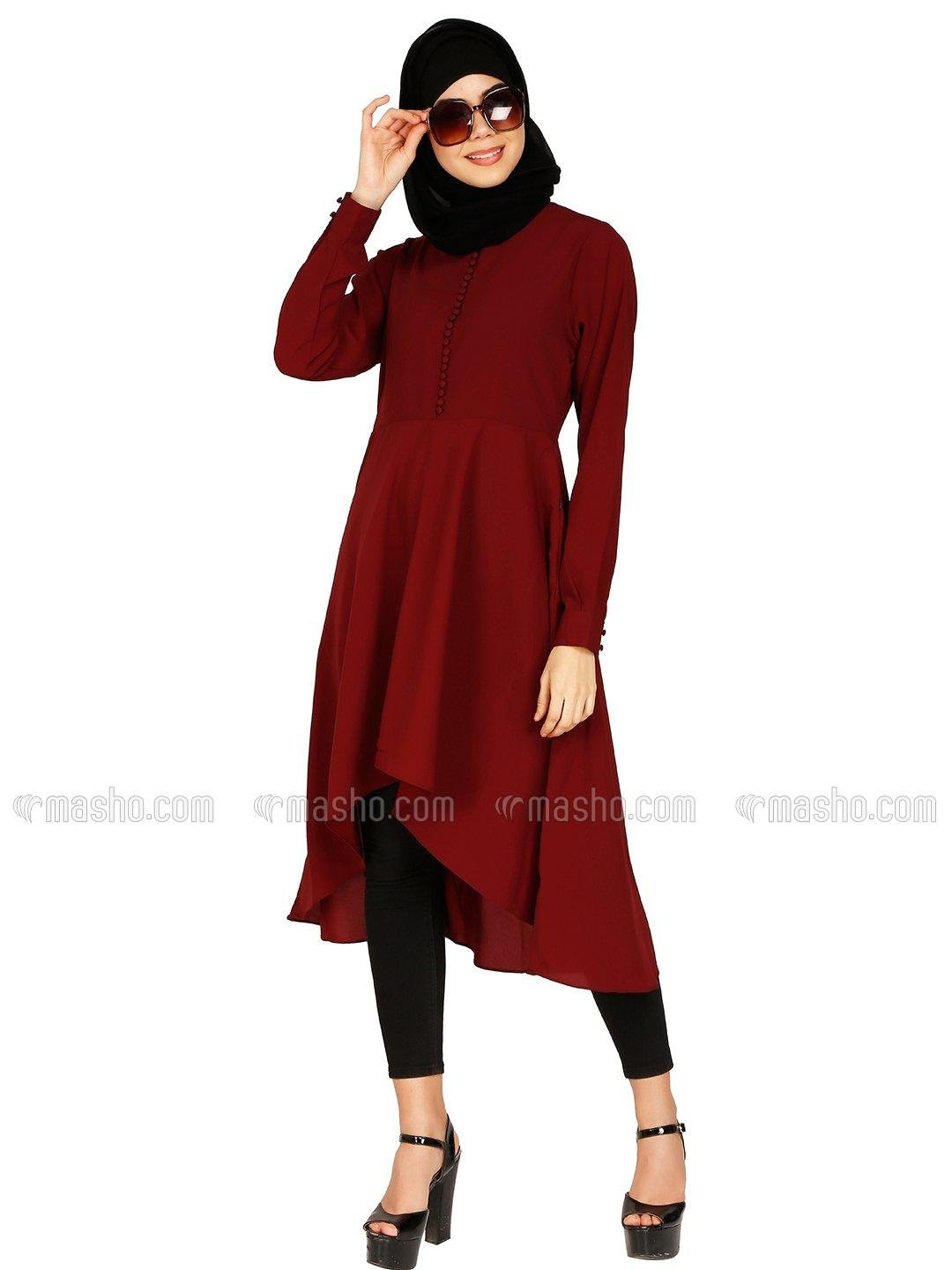 Nida Matte Kurti With Polti Buttons Neck In Maroon