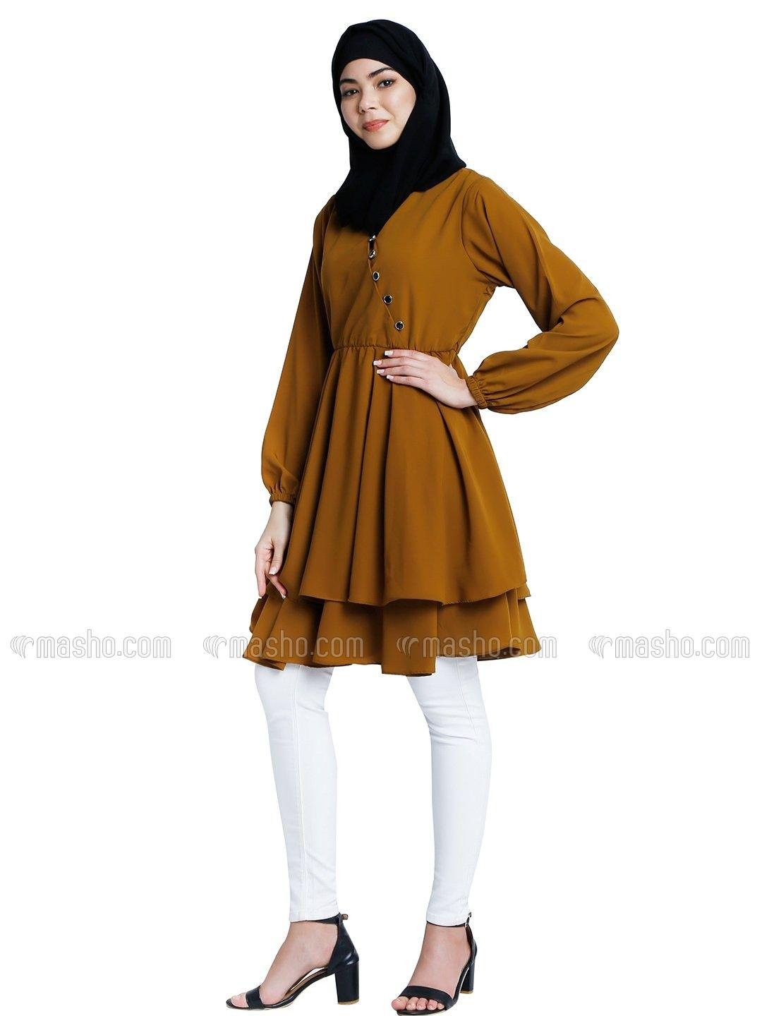 Nida Matte Modest Tunics With Full Sleeves In Mustard Brown