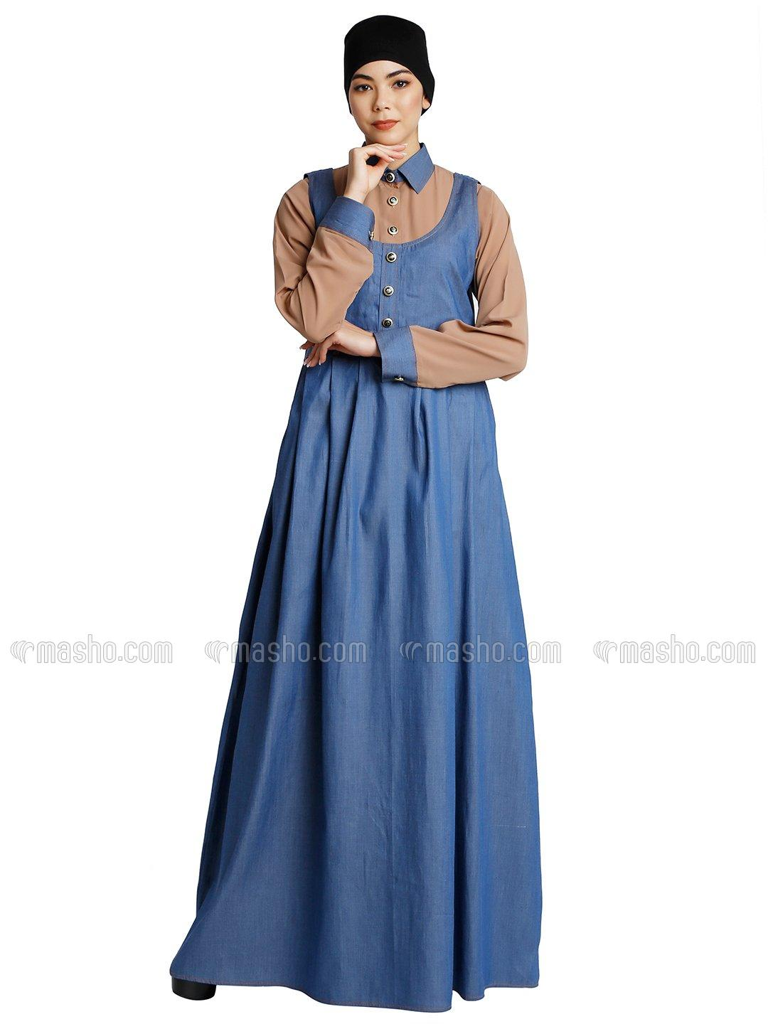 Cotton Denim And Nida Matte Maxi Dress With Shirt Collar In Khaki And Blue