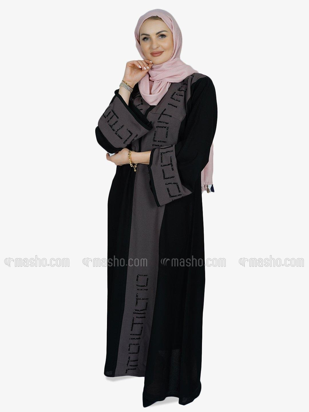 Korean Masha Crepe Free Size Abaya With Crystal Hand Work On Front And Sleeve In Black And Coffee
