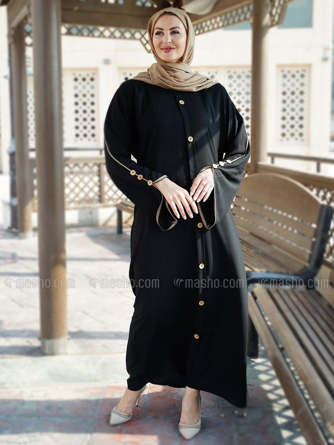 Thoshi Free Size Abaya With Show Button On Front And Sleeves With Beige Piping Work In Black
