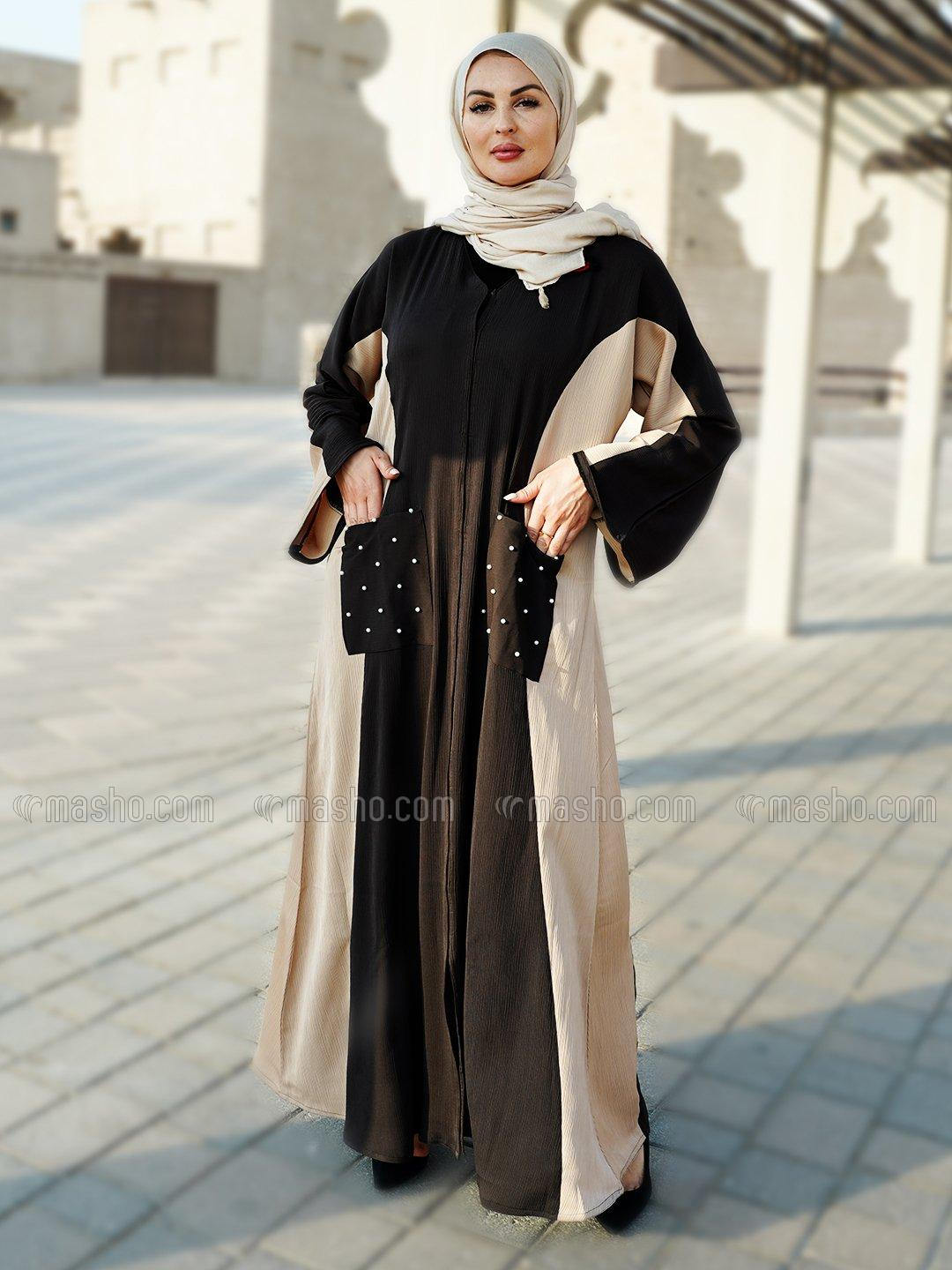 Indonesian Zoom Simple Free Size Abaya With Two Side Pockets At Front With Beads Work In Beige And D