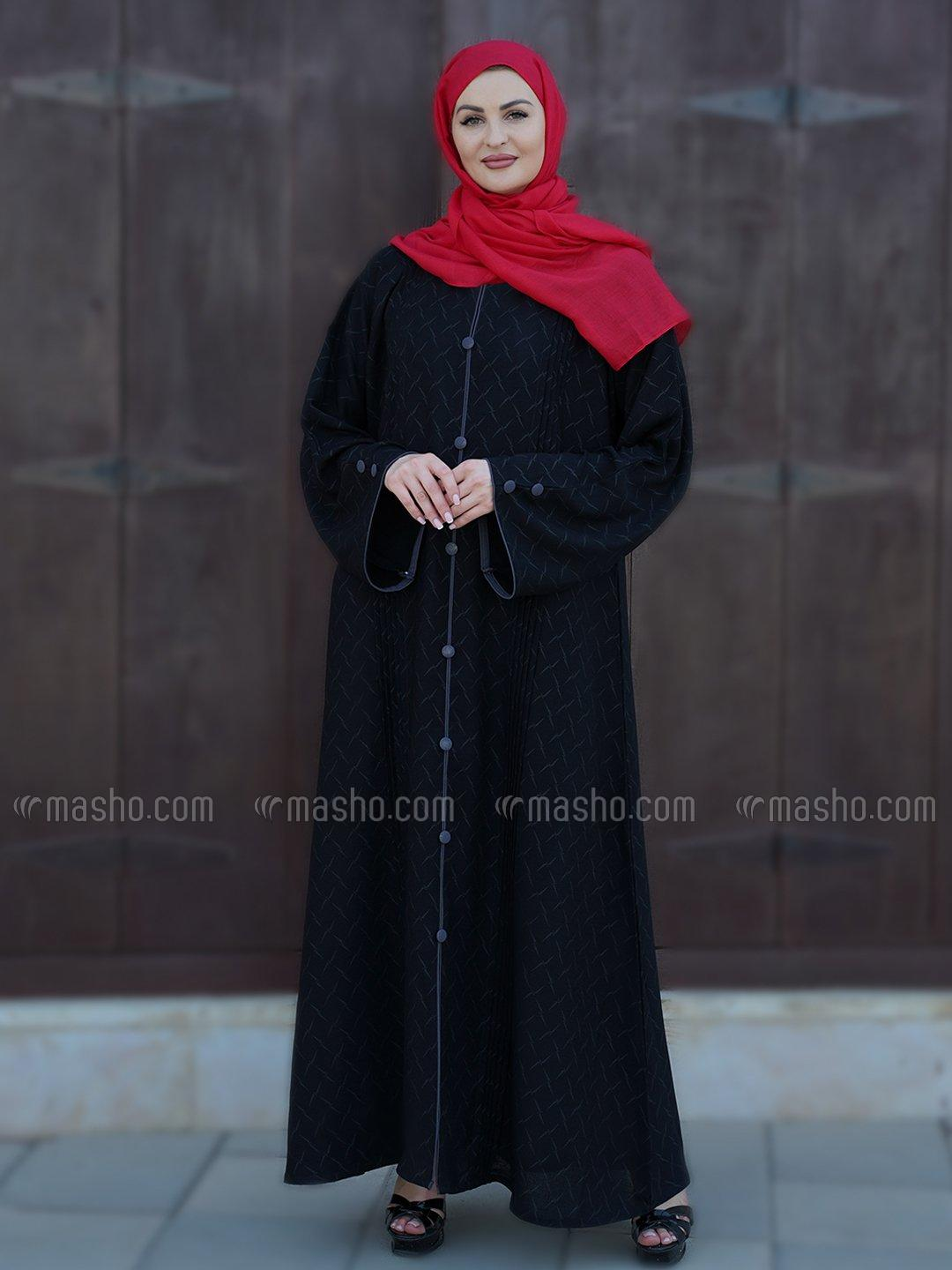 Fukri Printed Free Size Abaya With Show Button And Piping Work On Front And Sleeve In Black