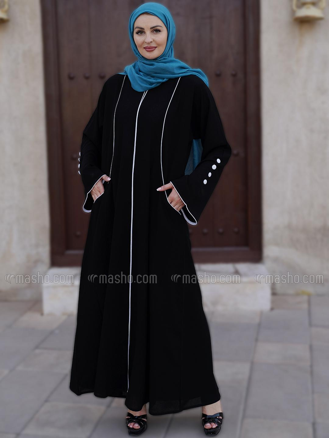 Korean Masha Crepe Free Size Abaya With Piping  And Two Side Pockets At Front With Show Button On Sl