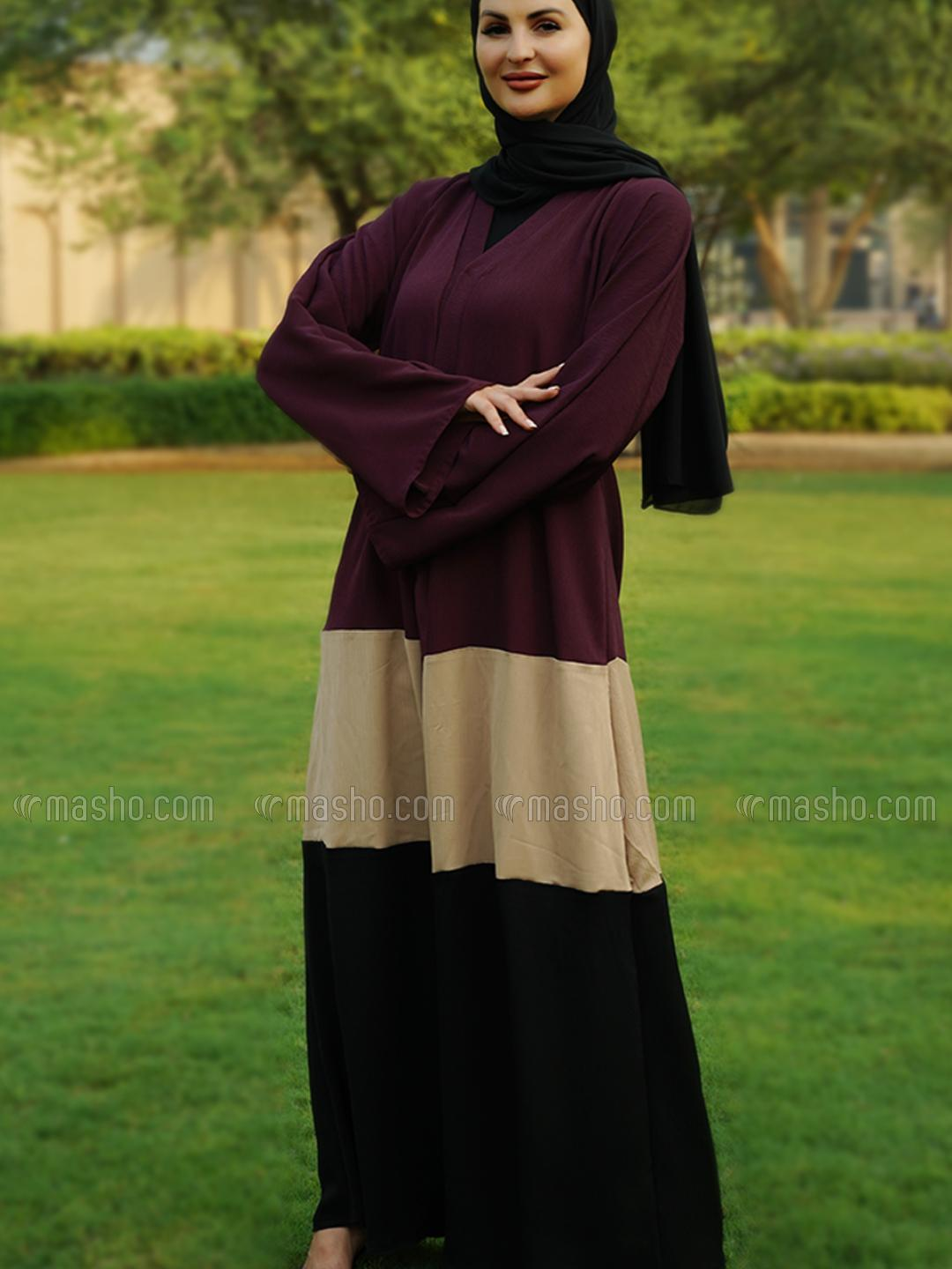 Indonesia Zoom Simple Free Size Front Open Abaya In Multi
