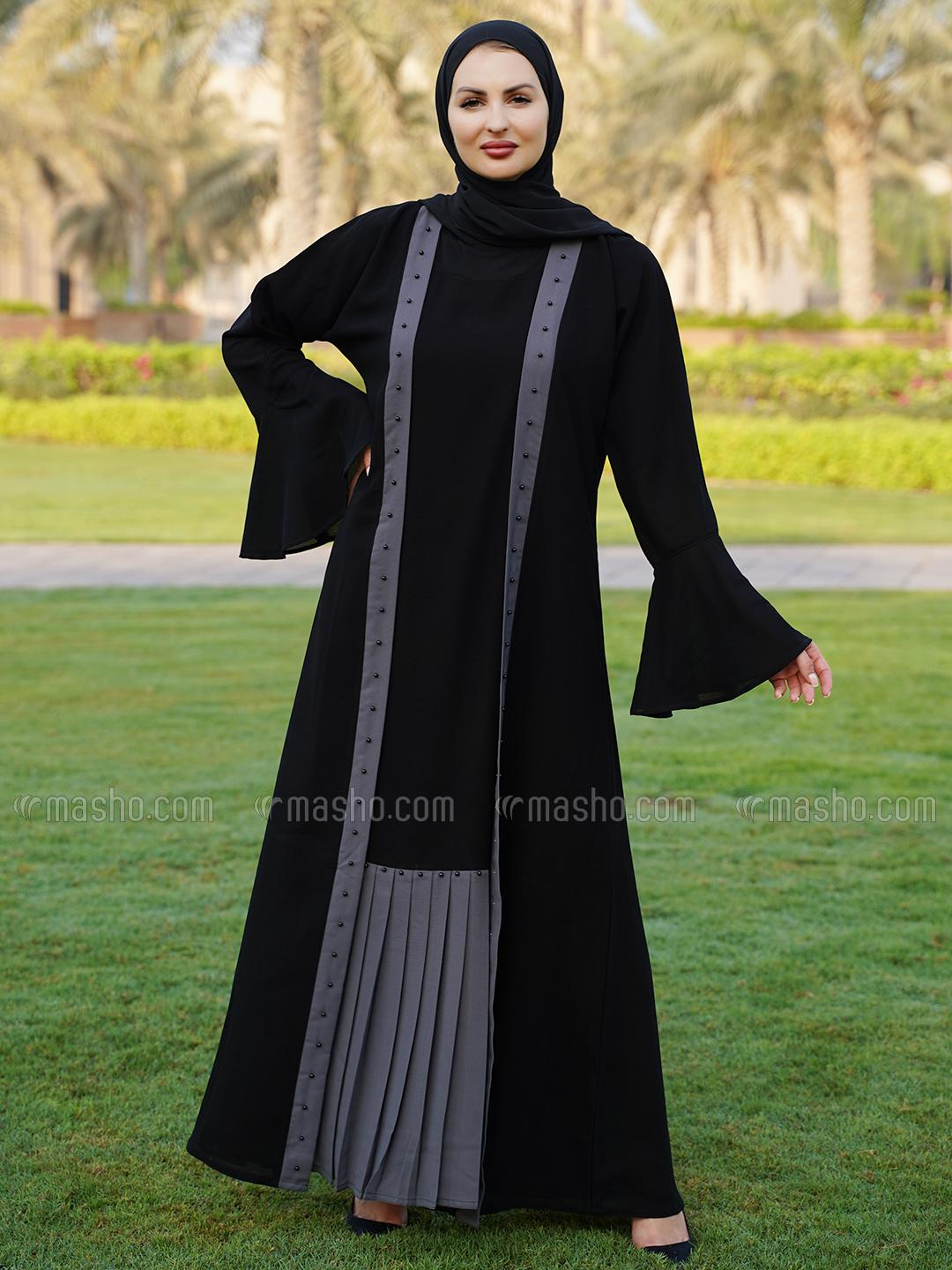 Korean Masha Crepe Free Size Attached Shrug Abaya With Black Pearl Work On Front With Pleat Work On