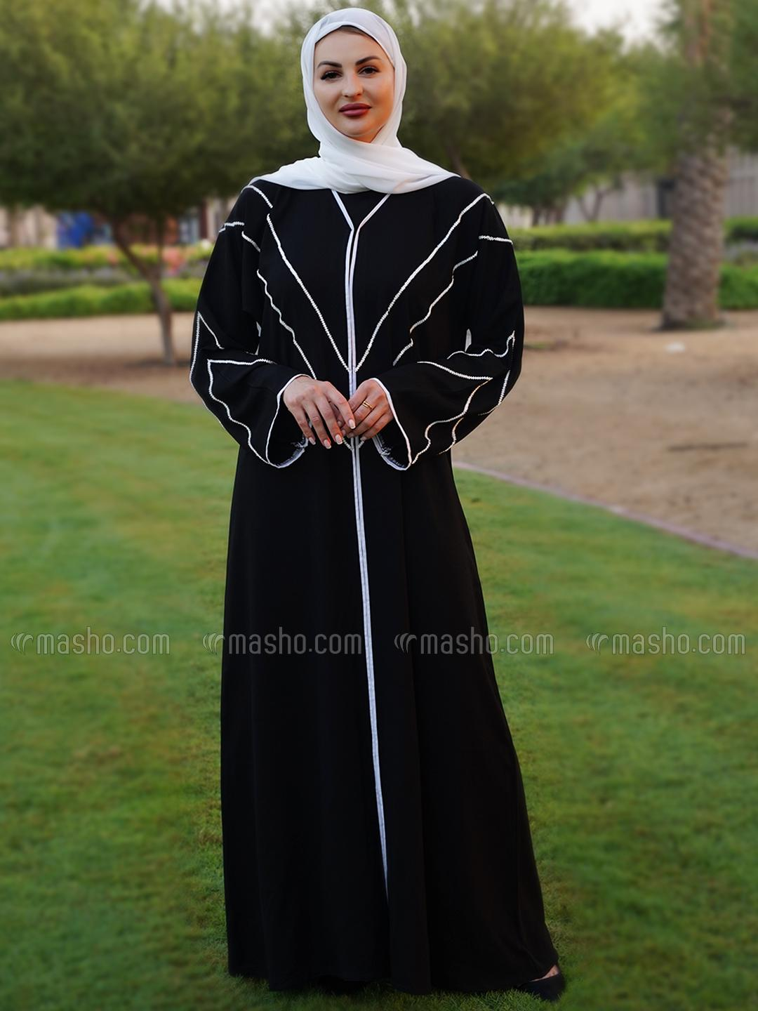 Korean Masha Crepe Free Size Abaya With White Piping And Crystal Hand Work On Front And Sleeve In Bl