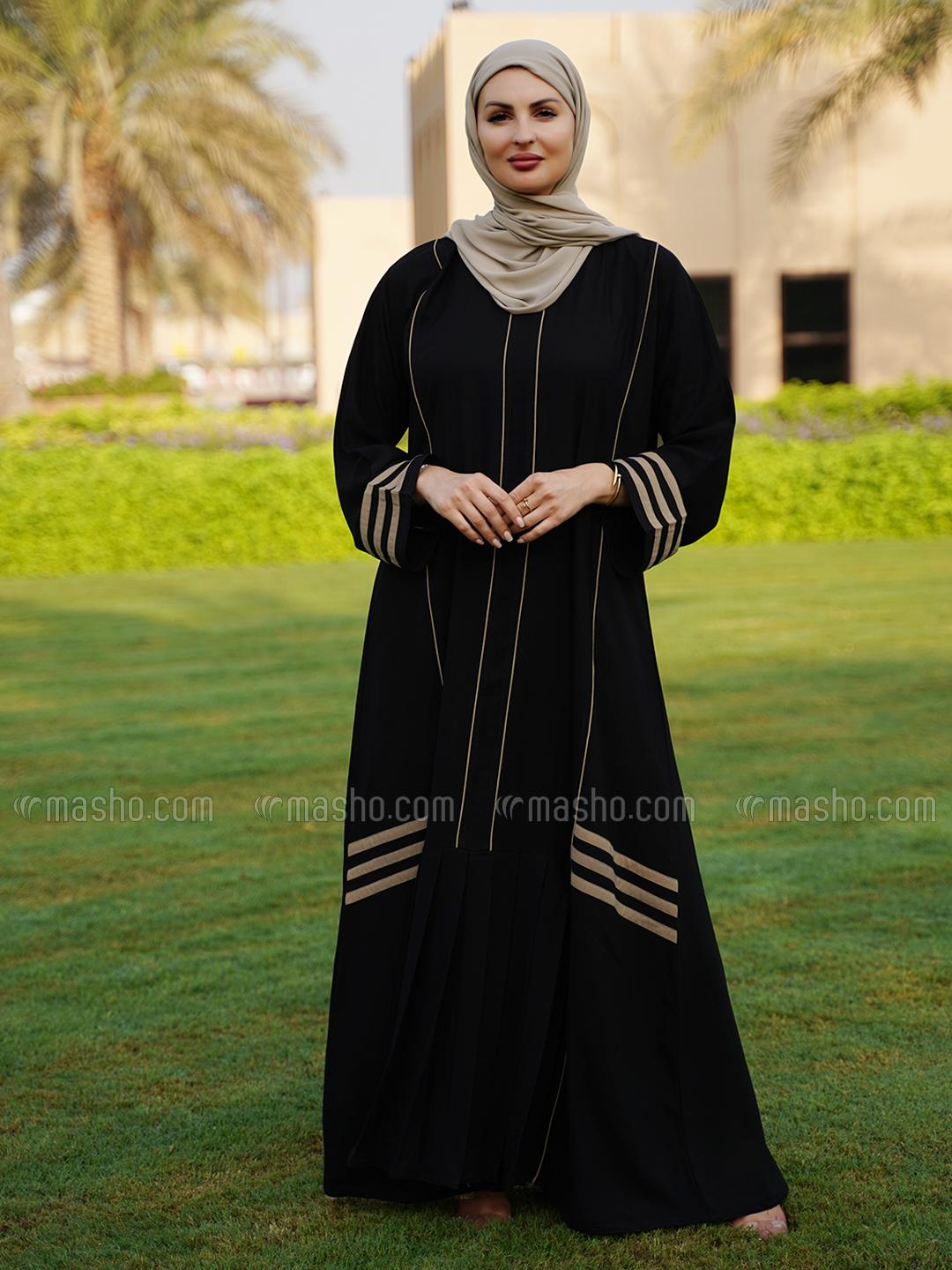 Thoshi Free Size Abaya With Piping Work And Pleat Work On Front In Black And Beige