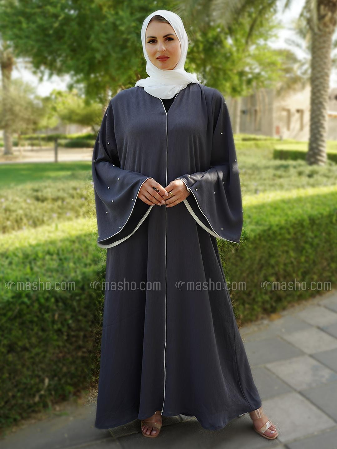 Indonesian Zoom Simple Free Size Abaya With White Pearl Work On Sleeve With Piping In Dark Grey