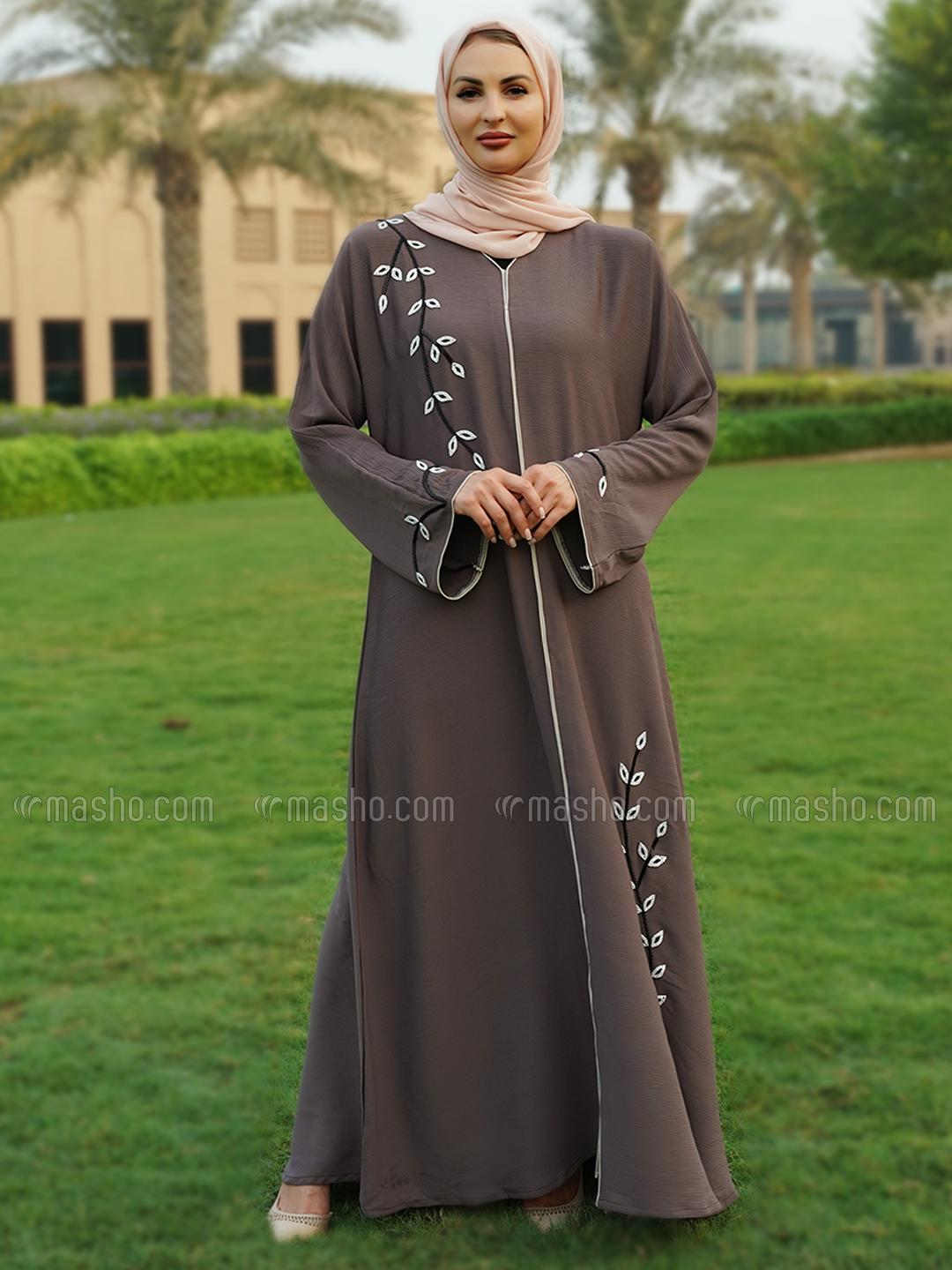 Korean Zoom Free Size Abaya With Crystal Hand Work And Piping Work In Coffee