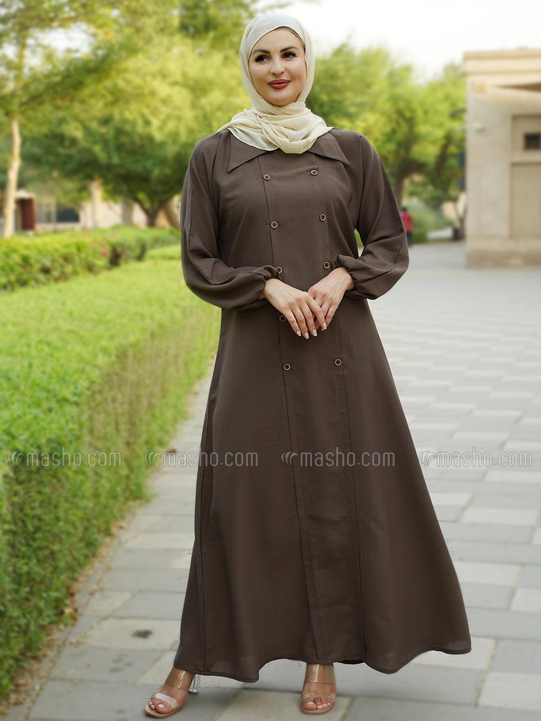 Korean Masha Crepe Simple Free Size Abaya With Show Button On Front And Sleeve Bottom With Elastic I
