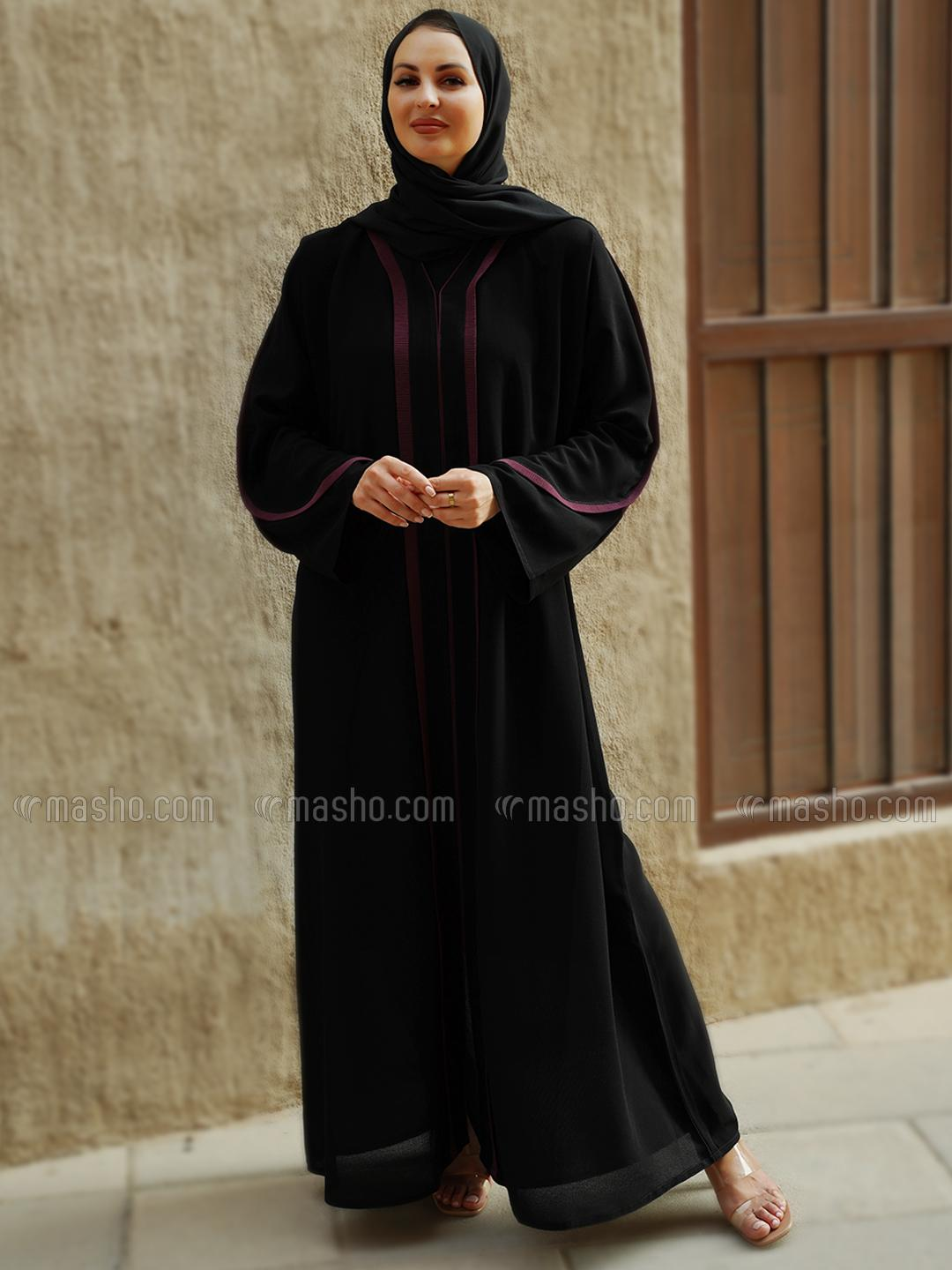 Korean Masha Crepe Simple Free Size Abaya With Pink Piping And Line Work On Front And Sleeve In Blac