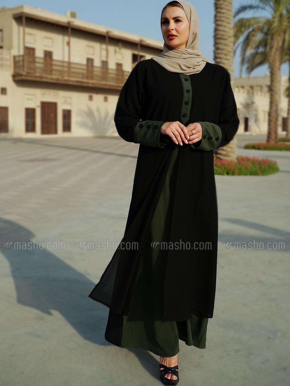 Korean Masha Crepe Free Size Abaya With Attached Shrug In Black And Olive