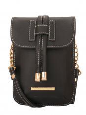 Lapis O Lupo Smoke Women Mobile Synthetic Sling Bag - Black