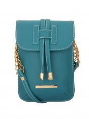 Lapis O Lupo Glaukos Women Mobile Synthetic Sling Bag - Turquoise