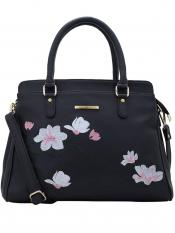 Lapis O Lupo Synthetic Flower Embroidery Women Handbag -Black