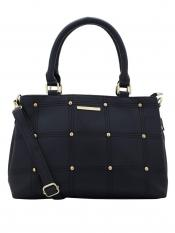 Lapis O Lupo Synthetic  Sewing Embroidery Women Handbag -Black