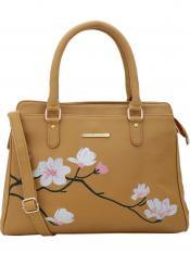 Lapis O Lupo Synthetic  Flower Embroidery Women Handbag -Mustard
