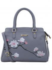 Lapis O Lupo Synthetic Flower Embroidery Women Handbag -Grey