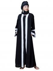 Nazneen Polyester Crepe contrast band with inner Dubai Kaftan In Black And White
