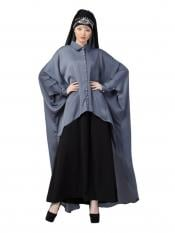 Nazneen Satin Front Open Shirt Kaftan With Inner Casual Abaya In Grey And Black