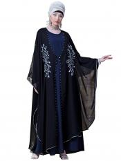 Nazneen Georgette butterfly upper with inner Embroidered cum Kaftan In Black And Navy