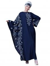 Nazneen Crepe embroidered Butterfly Sleeve Party Abaya In Navy Blue And White