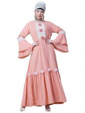 Nazneen Georgette Bell Sleeve flowers With around knee party Abaya In Peach