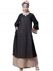 Nazneen Georgette Double Layer With Hand Embroidered Party Abaya In Black And Skin