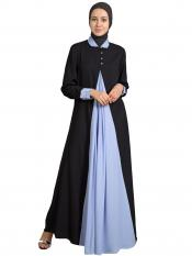 Nazneen 100% Polyester Crepe Contrast Yoke Casual Abaya in Black and Sky Blue