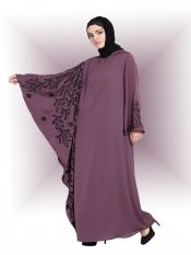 Nazneen  Nida Matte Abaya With Embroidered Butterfly Sleeve In Light Purple