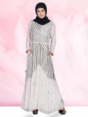 100% Polyester Abaya with Sequins Beads Hand work in Light Pink