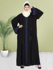 100% Polyester Crepe Dubai Kaftan With Contrast Band Hand Work In Black and Navy Blue