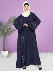 100% Polyester Crepe Dubai Kaftan With Hand Work Front Open In Navy Blue