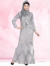 100% Polyester Abaya with Full Embellished in Silver Grey