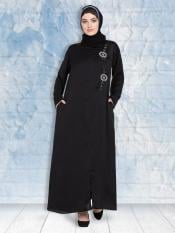 100% Polyester Satin Nida Abaya With Front Zip And Slit Hand Work In Black
