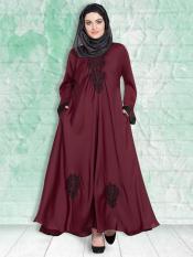 100% Polyester Satin Nida Abaya With Thread Embroidered Umbrella In Maroon and Black