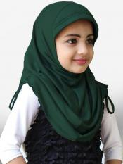 Little Heena Soft Knitted Icra Fabric Hijab In Bottle Green