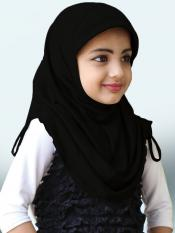 Little Heena Soft Knitted Icra Fabric Hijab In Black