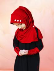 Little Riya Soft Knitted Icra Fabric Hijab In Red