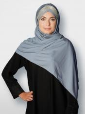 100% Polyster Lycra Turban Style Instant Hijab With Glittering Band In Grey And Silver