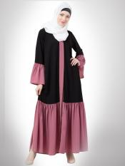 Matt Nida Abaya With Front Open Contrast Bottom In Black And Pink