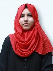 Cotton Mix Stoles With Golden Dots In Red