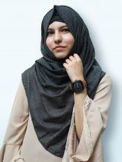 Cotton Mix Stoles With Golden Dots In Charcoal